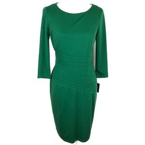 Ellen Tracy Emerald Dress 3/4 Sleeve Size 6